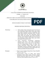 PP 13_2010 Jenis Dan Tarif Penerimaan Negara Bukan Pajak yang Berlaku pada Badan Pertanahan Nasional
