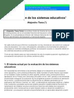 Evaluacion de Los Sistemas Educativos