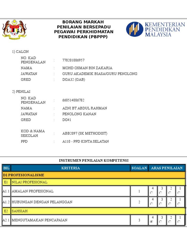 Borang Markah Pbppp