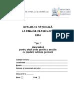 En IV 2014 Matematica Test 1 Pt Minoritate Germana