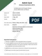 15104789 CMI Admit Card