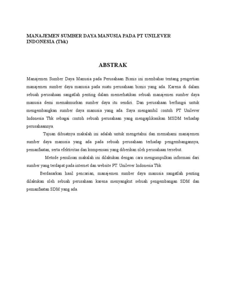 Manajemen Sumber Daya Manusia Pada Pt Unilever Indonesia