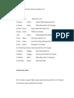 Berikut Daftar Hari Libur Nasional Di Tahun 2014