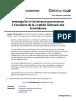 Message de la lieutenante-gouverneure à l'occasion de la Journée nationale des Autochtones