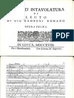 I - Sonate d Intavolatura di Leuto Op1 Zamboni