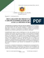 Cabildo Interreligioso de Colombia - Declaración Junio 2015