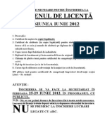 Inscriere Licenta IUN 2012