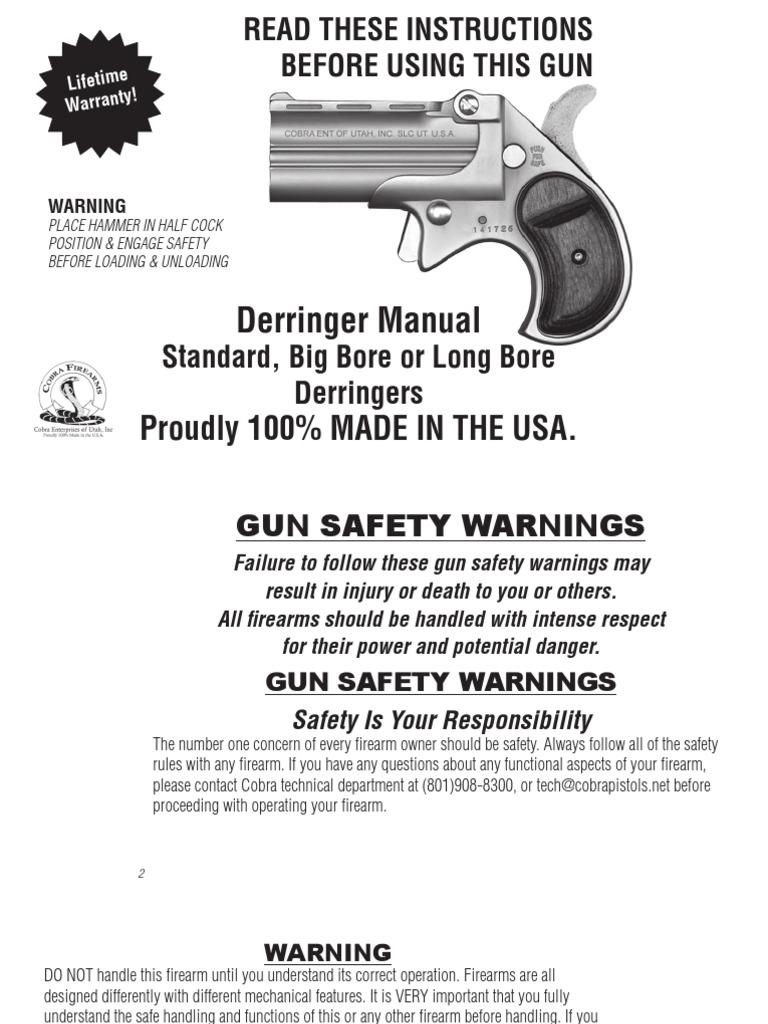 cobra firearms big borederringer manual trigger firearms rh scribd com cobra derringer disassembly cobra 9mm derringer manual
