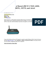 Configuration of Beetel 450 TC1 WiFi ADSL Modem for BSNL.doc
