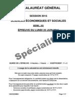 Bac ES 2015 Spé - sciences économiques te sociales