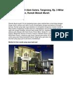 Dijual Rumah Di Alam Sutera, Tangerang, Rp. 3 Miliar an, Rumah Mewah Murah - www.antara-sumbar.com