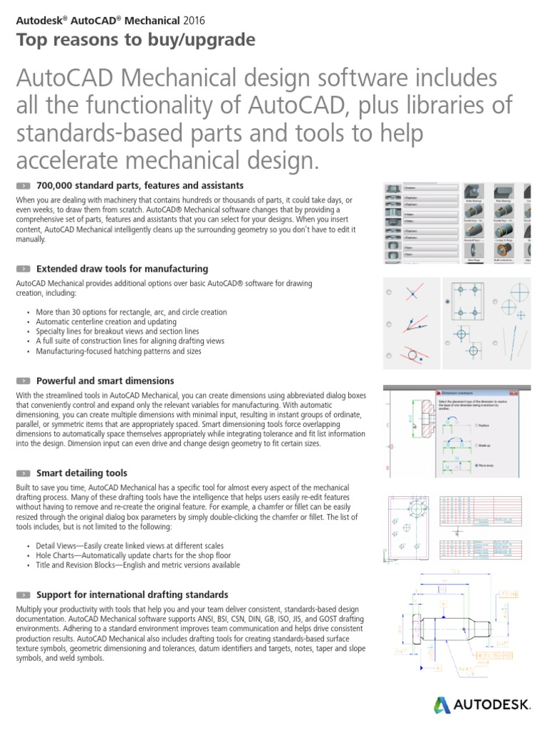 Autocad Mechanical 2016 Top Reasons Autodesk Technical Drawing