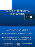 Canadian English vs Irish English