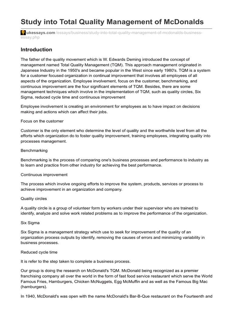 total quality management essay tqm essay