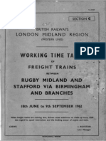 Working Timetable Abstract, 1962, Freight, Dudley-Wichnor