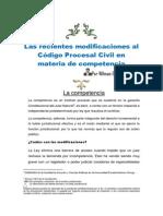 Las recientes modificaciones al Código Procesal Civil en materia de competencia