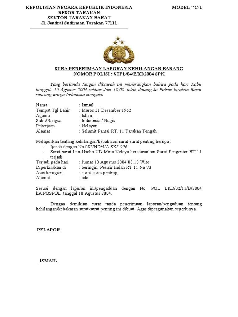 Contoh Surat Laporan Pengaduan Ke Polisi Pdf Kumpulan Contoh Laporan