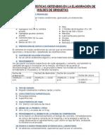 Datos y Características Obtenidos en La Elaboración de Moldes de Briquetas Terminado Con Los 8 Tipos