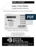 United Security AVD-2007 User Manual