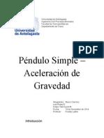 Lab. 9 - Péndulo Simple – Aceleración de Gravedad