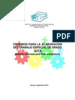 Criterios Para Elaboración Del Trabajo Especial de Grado IUTA Sept 2012