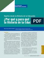 Por Qué y Para Qué La Historia de La Educación
