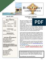 church bulletin for  6-28-2015