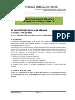 Especificaciones Tecnicas Sistema de Alcanatrillado