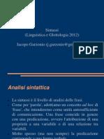 Sintassi (Linguistica e Glottologia 2012)
