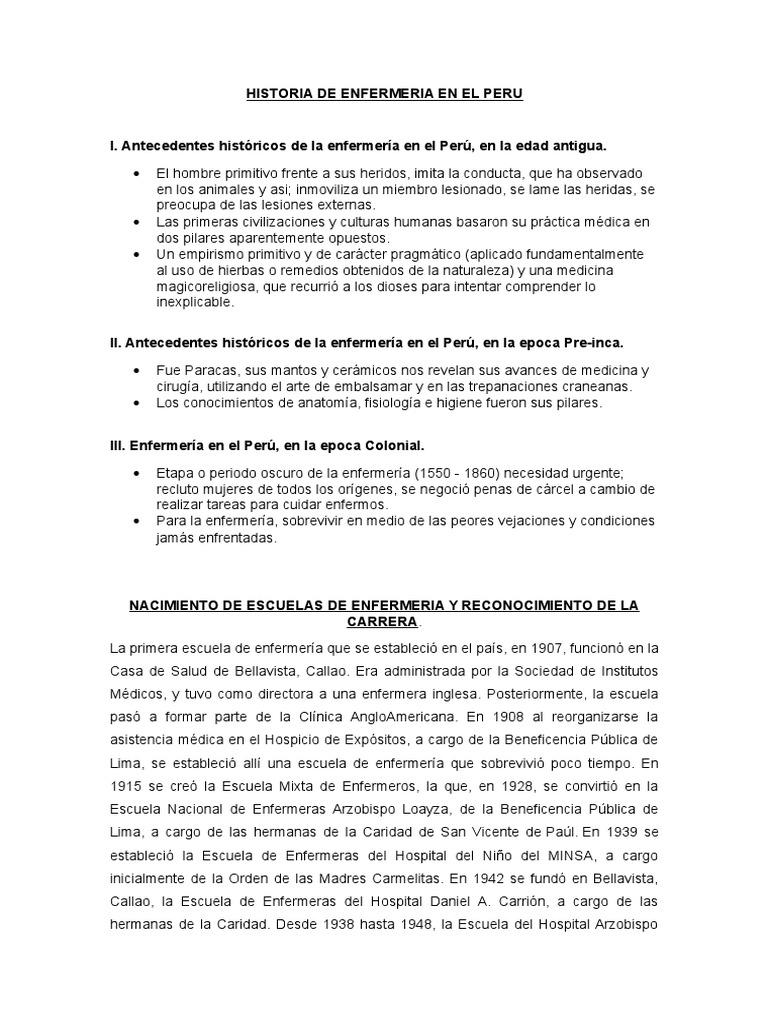 Historia de Enfermeria en El Peru