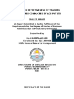 A Study on Effectiveness of Training Programmes Conducted by Acs Pvt Ltd