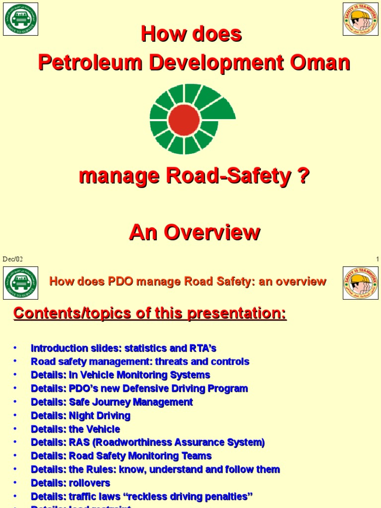 PDO - Roady Safety Managing | Driving | Road Traffic Safety