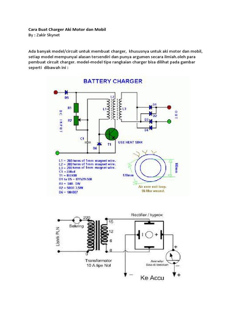 Cara Buat Charger Aki Motor Dan Mobil Memeriksa Wiring Rangkaian