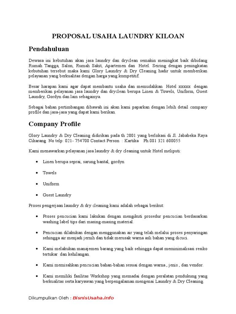 Contoh Proposal Laundry Kiloan Gambaran
