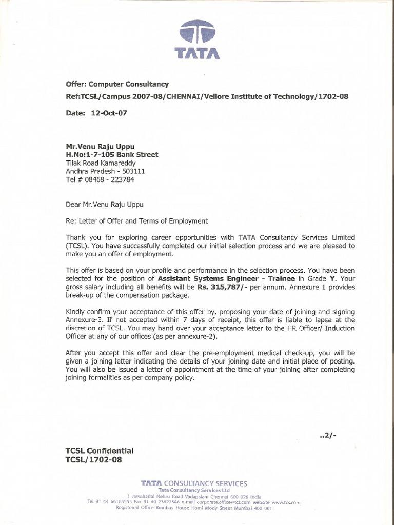 Job Offer Letter Format Pdf.  tcs offer letter pdf