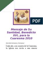 Mensaje de Su Santidad Para La Cuaresma 2010