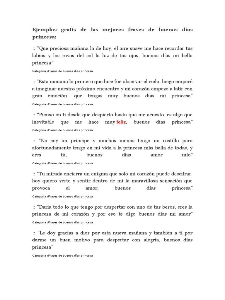 Ejemplos Gratis De Las Mejores Frases De Buenos Días Princesa