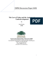 The Law of Value and the Analysis of  Underdevelopment