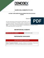 Adjudicación de la Subasta Nº 01-2015 al sector transporte