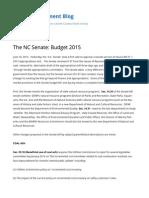 SmithEnvironment Blog's 2015 NC Senate Budget Highlights