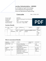 Me0025 Process Planning and Cost Estimation