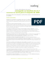 Vueling Airlines, informe de gestión de los resultados anuales y del cuarto trimestre de 2009
