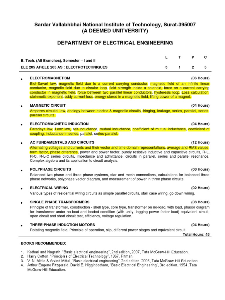 B Tech I Et Inductance Series And Parallel Circuits Electrodynamometer Power Factor Meter Electronic Instrumentation