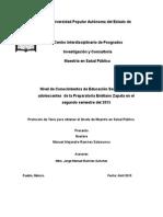 Protocolo Nivel de Conocimientos de Educación Sexual en los adolescentes  de la Preparatoria Emiliano Zapata en el segundo semestre del 2015