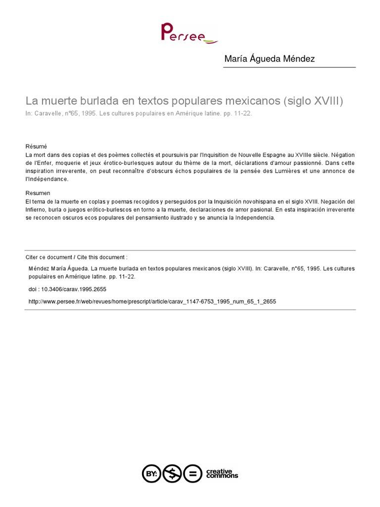 Agueda Méndez La Muerte Burlada En Textos Populares