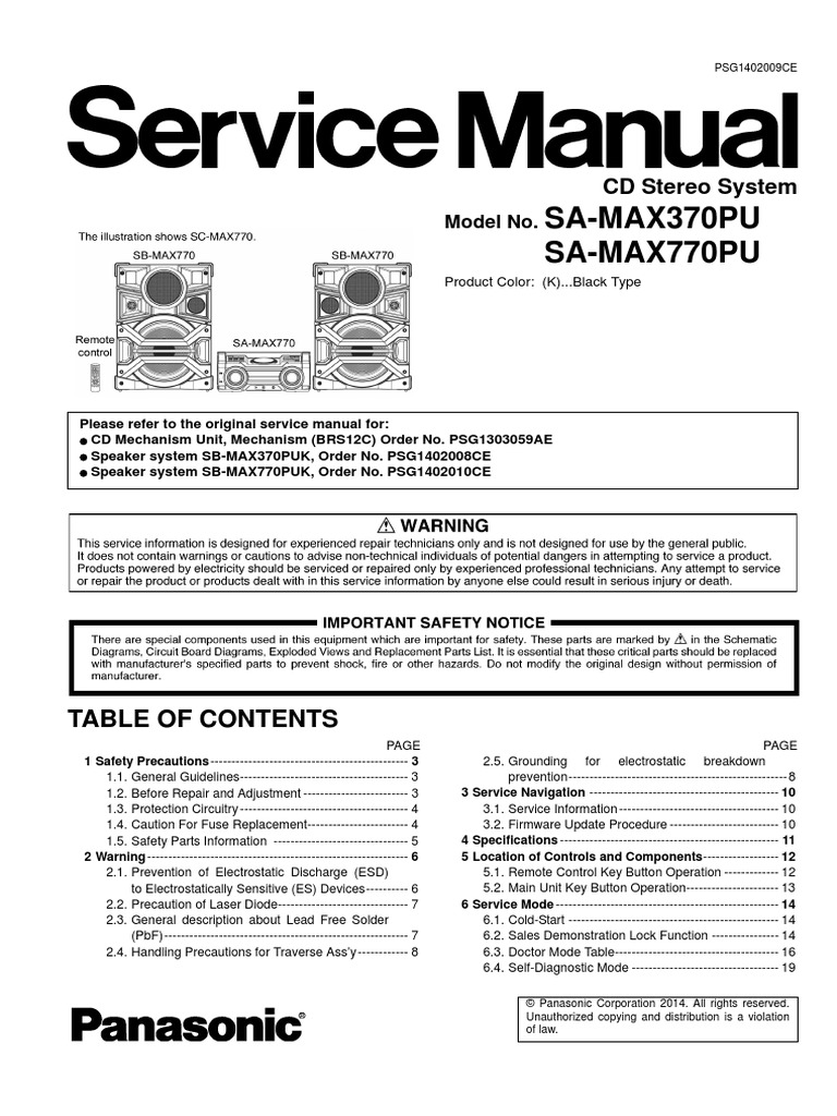 Service Manual Max 770 Panasonic Schematic Diagram