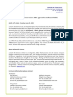 Jubilant Life Sciences receives ANDA approval for Levofloxacin Tablets [Company Update]