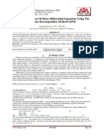 Numerical Solution Of Delay Differential Equations Using The Adomian Decomposition Method(ADM)