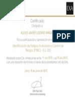 Certificado - Identificación de PeCertificado - Identificación de Peligros, Evaluación y Control de Riesgos (IPERC) - D.S. 055ligros, Evaluación y Control de Riesgos (IPERC) - D.S. 055