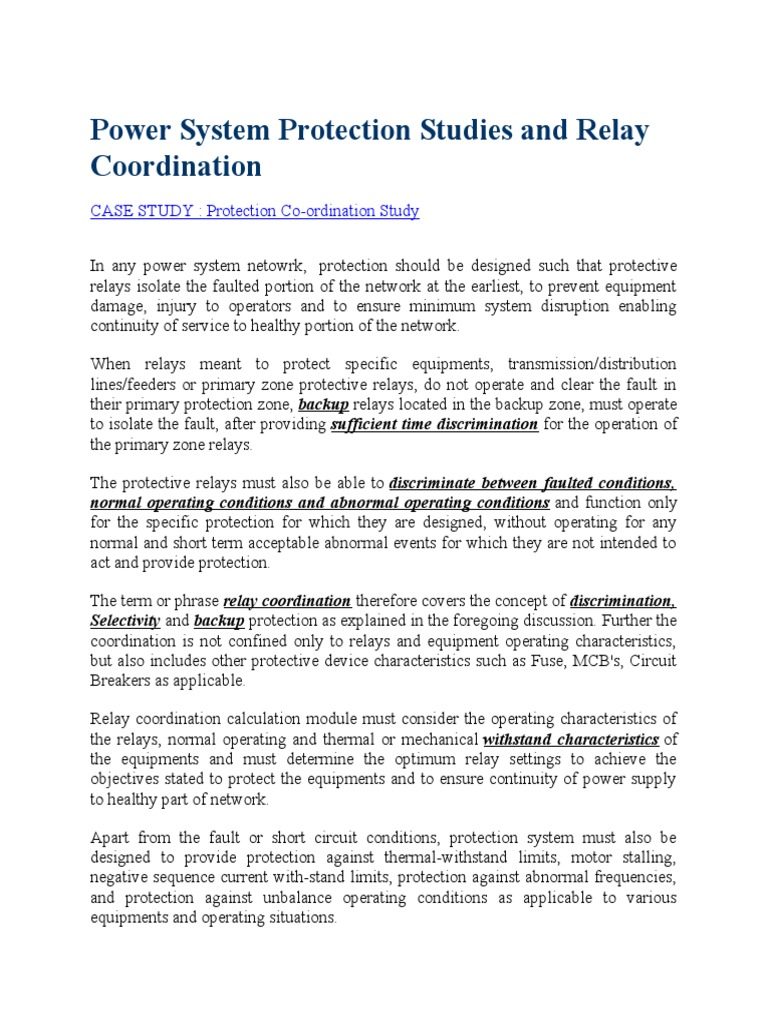 Power System Protection Studies And Relay Coordinationdocx Operation Electric